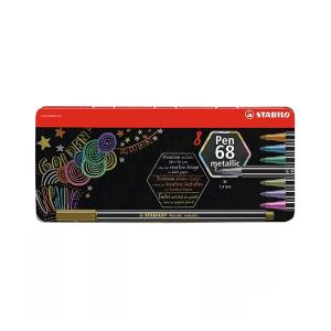 Stabilo Pen 68 metallic filctoll - fém tokban - 8 db-os